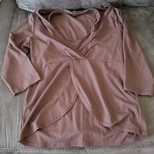 Tribal 3/4 Brown blouse w/ built in halter Size M
